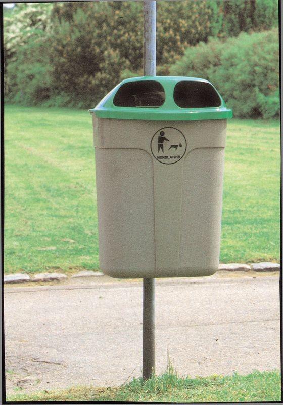 Affaldskurv, 40 liter, grå med hund.