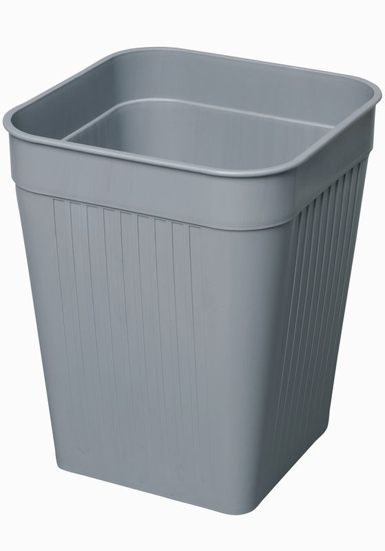 Firkantet papirkurv, grå, 14 liter