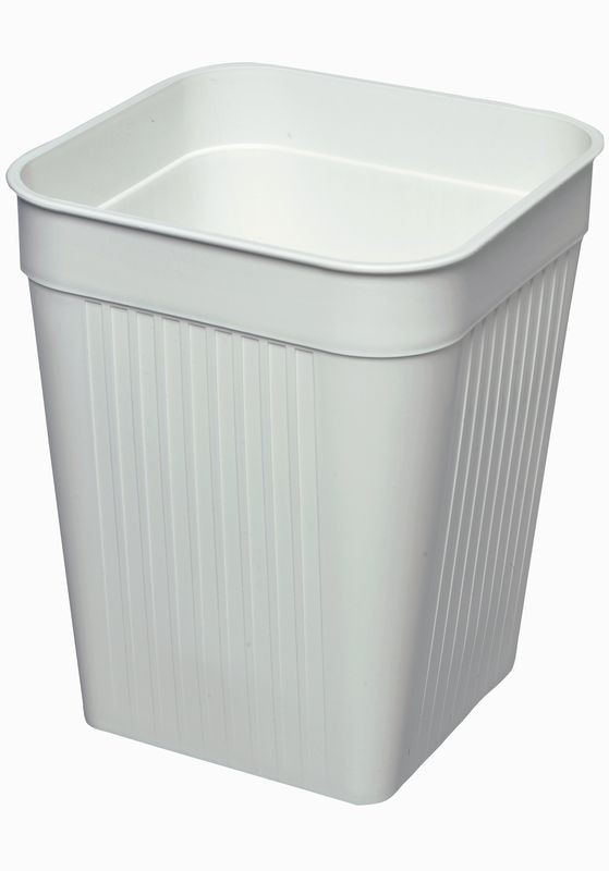 Firkantet papirkurv, hvid, 14 liter