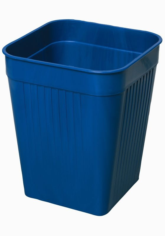 Firkantet papirkurv, blå, 14 liter
