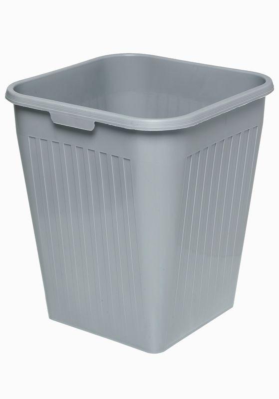 Firkantet papirkurv, grå, 25 liter