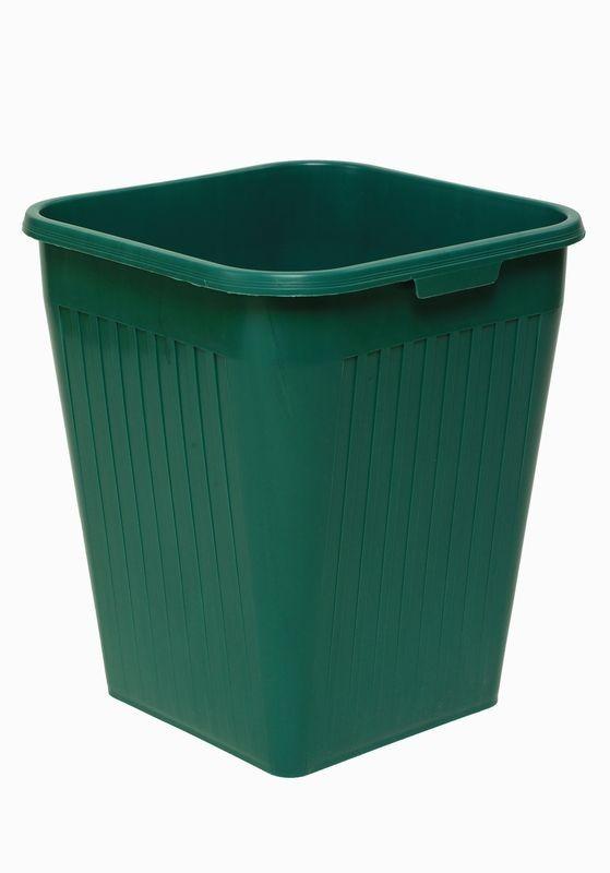 Firkantet papirkurv, grøn, 25 liter