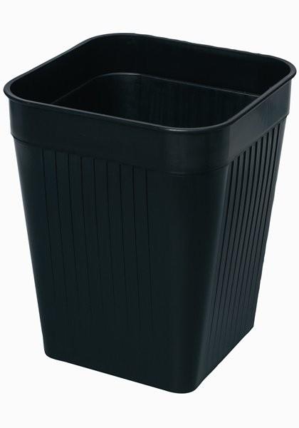Firkantet papirkurv, sort, 14 liter