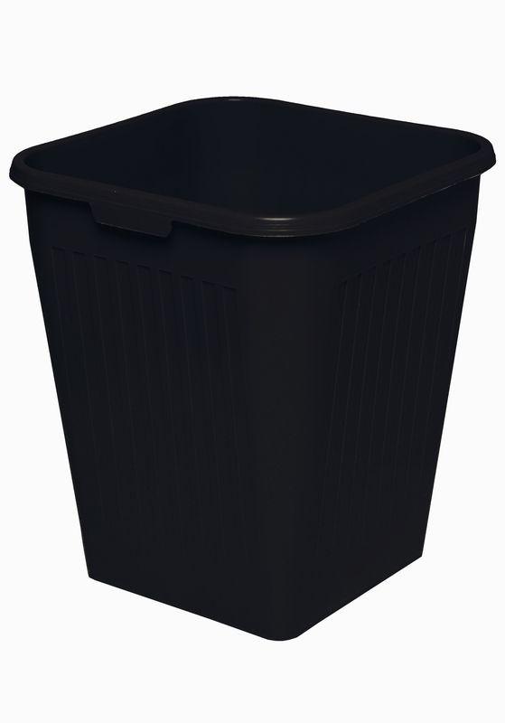 Firkantet papirkurv, sort, 25 liter