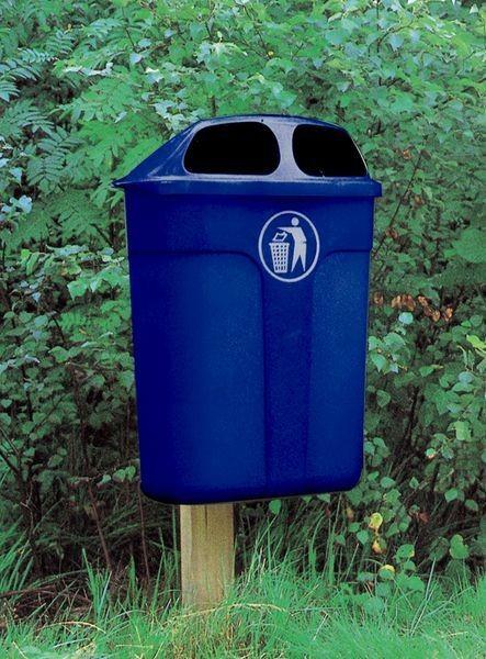 Affaldskurv, 40 liter, blå med person.